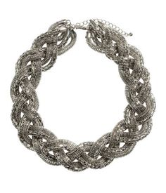 H&M Silver Chain Link Chunky Statement Braided Necklace $15 LOVE