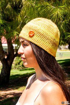 Neon Yellow Neon Orange and Brown crochet skull cap by keepongivin