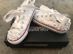 a9ec17805a791 Infant Kids Sparkly Crystal and Pearl Converse stunning. party shoes  bridesmaid flowergirl