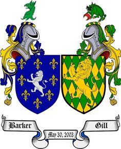 Marriage / Double Coat of Arms / Family Crest downloadable jpg $19.99 over 1 million surnames available