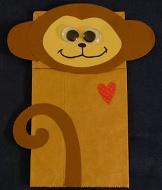 Chinmaya Mission Kindergarten Balavihar: Monkey Puppet - there's a link to the template here too