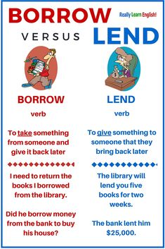Confusing Words in English and Some Common Mistakes 03 Borrow versus Lend - Learn English Teaching English Grammar, English Writing Skills, English Vocabulary Words, English Language Learning, Grammar Lessons, English Verbs, English Phrases, Learn English Words, English Study