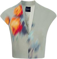Peter Som Large Rose Cady Stretch V-Neck Cropped Top on shopstyle.com
