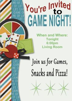 Game Night Party Invitation Template Unique Game Night Printable Invitation and . Couple Games, Family Games, Family Activities, Group Games, Therapy Activities, Clipart, Game Night Decorations, Game Night Parties, Game Party