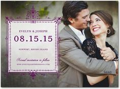 Signature White Photo Save the Date Cards Framed Feelings - Front : Black
