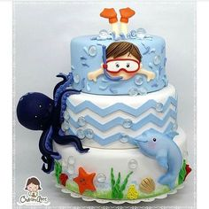 Little Boy Swimming with Octopus & Shark Cake Ocean Cakes, Beach Cakes, Fondant Cakes, Cupcake Cakes, Swimming Cake, Bolo Fack, Pool Party Cakes, Just Cakes, Novelty Cakes
