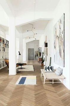 herringbone floor; statement art