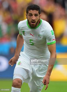 Rafik Halliche of Algeria celebrates after scoring his team's second goal during the 2014 FIFA World Cup Brazil Group H match between South Korea and...