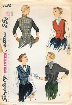 Simplicity 3298 1950s Misses Weskit and Jacket Vintage Sewing