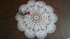 Hand made White Cotton Lace Crocheted Doily 16 inches by CrochetEmbroideyArt on Etsy