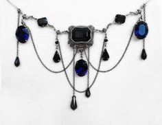 Gothic Vampire Necklace with Black and Blue Swarovski by Aranwen