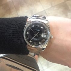 What lady wouldn't love a 34mm Rolex date with diamonds? #Rolex #WatchWednesday