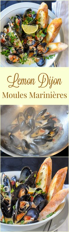 Lemon Dijon Moules Marinières - Lemon Dijon Steamed Mussels, an incredible appetizer course or spectacular lunch. Add some linguine for an amazing pasta version too. This year it's the first course in our Valentine's Day Dinner Menu.