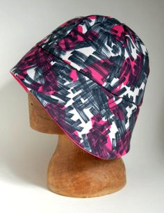 cloche rain hat in vintage 60s pink print fabric