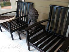 Curb Alert!: Outdoor Wood Patio Chairs {Easy Refinishing Project Tutorial}