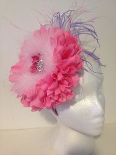 Pink Flower Feather Fascinator by FancyGirlBoutiqueNYC on Etsy