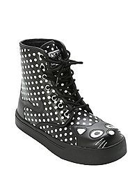 HOTTOPIC.COM - T.U.K. Black And White Polka Dot Kitty Sneaker Boot