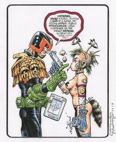 Judge Dredd vs Tank Girl by Steve Mannion Comic Book Characters, Comic Books Art, Tank Girl Comic, Judge Dredd Comic, Heros Comics, Image Fun, Funky Art, Comic Artist, Art Girl