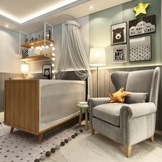 Discover more creative green inspirations that will look perfect in kids' bedrooms.NET to find the most amazing furniture for toddlers' bedroom. Baby Boy Rooms, Baby Bedroom, Baby Room Decor, Home Bedroom, Bedroom Decor, Newborn Room, Modern Kids Bedroom, Baby Canopy, Baby Room Design