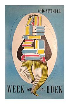 "vintage Dutch book week poster ""Week van het Boek [A Week of the Book"" with artwork of man in striped pants carrying towering stack of books for reading, c.?, Holland/The Netherlands"