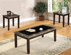 Rolle Espresso Faux Marble Wood 3pc Pack Coffee/End Table Set