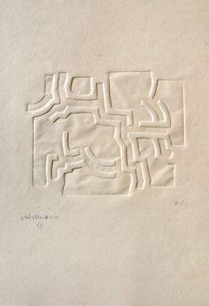 Eduardo Chillida,Más Allá IV, 1973 seltener Prägedruck (Embossing), Ex. HC, Aufl. 50, aus dem Buch von Jorge Guillén «Más Allá» 38,3 x 32,2 cm, WZ Nr. 73027 Copyright Chillida Estate, Leku Foundation Courtesy Galerie Lelong