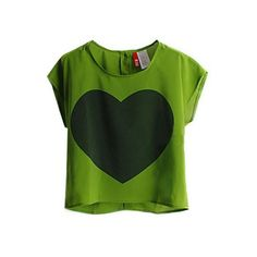 Green Heart Print Short Sleeve Chiffon T-shirt with Buttons Back ($27) ❤ liked on Polyvore