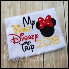 My First Disney Trip Minnie Mouse Monogram Shirt by KreweKids, $22.00