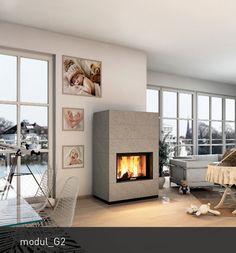 """modul steht für die Heizkamine der monolith Ofenserie. Wie jeder monolith besticht der modul_G2 durch die hochwertige Verarbeitung der Natursteinverkleidung und die exzellente Verbrennungstechnik. Geradlinige """"monolithische""""  Erscheinung, Wärmespeicherung und wohltuende Wärmestrahlung – das ist der modul_G2. Die große hochschiebbare Glaskeramikscheibe bietet echtes Feuervergnügen. Die modul Heizkamine können mit Anbau.- und Sitzbankelementen erweitert werden. Durch das abgestimmte monolith…"""