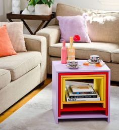 How to make nesting tables: When it becomes a bit of a squeeze in your living room, these four fun tables that fit neatly one inside the other are just the ticket. The tables can be made from one sheet of furniture-grade or marine plywood, which are strong and stable. The whole project will cost about $120, plus paint, and can be finished in a weekend.