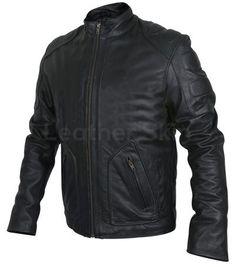 Men Black Motorcycle Genuine Leather Jacket with Shoulder Pads - Leather Skin Shop Leather Top Hat, Purple Leather Jacket, Long Leather Coat, Leather Jacket With Hood, Leather Men, Biker Leather, Black Leather, Motorcycle Leather, Best Leather Jackets