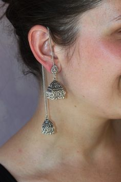 Dangle Earrings – Indian ethnic Earring,Detachable earring jhumka – a unique product by IndianRoute on DaWanda Indian Earrings, Chain Earrings, Indian Jewelry, Jhumki Earrings, Ethnic Jewelry, Platinum Earrings, Silver Earrings, Silver Jewelry, Silver Necklaces