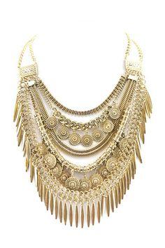 Gold Fringe Boho Statement Necklace