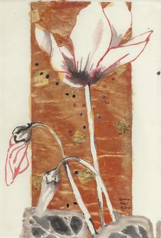 Robert Kushner (American, b. 1949), Cyclamen, 1993. Mixed media on paper, 19 x…