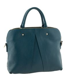 Another great find on #zulily! Petrol Blue Pleat Leather Tote by Tina Panicucci #zulilyfinds