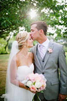Blush and grey wedding. Blush wedding bouquet. Gray wedding suit. Kate Connolly photography. NJ weddings