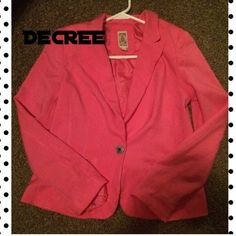 ✨✨Pink Blazer by Decree -like new Very nice pink Blazer EUC with a soft silk lining in excellent condition. Brand is Decree. May have been worn once. Feel free to make offer  Decree Jackets & Coats Blazers