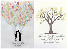 Wedding Guest Book Ideas:Fingerprints! - Girly Wedding... I love the idea of the fingerprints, and the balloon one is really cute!!!