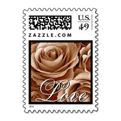 LOVE Wedding PALE GOLD Roses Postage Stamps #wedding #stamps #love #marriage #romance #bride #groom #jaclinart #love #postage #pale #gold #roses