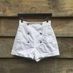 Vintage Perry Ellis White Jeans Sailor Shorts Size M by lavaimaria