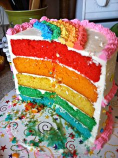 Care Bear Birthday Party - Rainbow Cake