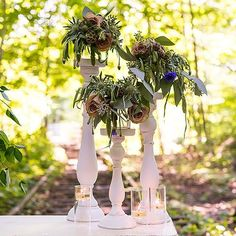 Shabby Chic Spindle Candle Holder Set White - Marry Me Wedding Accessories & Gifts - 4