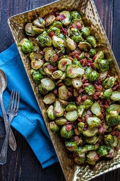 Roasted Brussels Sprouts with Bacon and Balsamic Recipe on Yummly