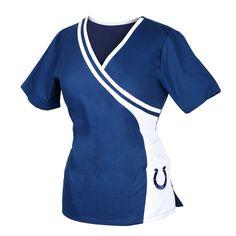 df2db4fef23 Indianappolis Colts NFL Team Women's Mock Wrap Scrub Top Scrub Tops,  Indianapolis Colts, Scrubs