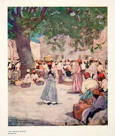 1906 Color Print Tobacco Market Kingston Jamaica Indigenous People Red Scarves - Original Color Print