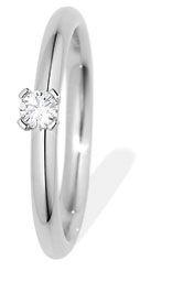 Reiner Edelstahl mit feinen Diamanten und edlen Steinen: Solitaire Ring ø 2,4 mm, 1 Brill. 0,12 ct 011606GXX