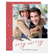 Very Merry Holiday Photo Card - invitations custom unique diy personalize occasions