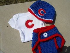 Chicago Cubs Inspired Crochet Hat, Diaper Cover and Appliqued Onesie on Etsy, $38.00
