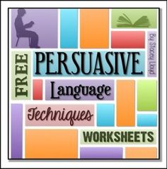FREE Persuasive Language Worksheets by Stacey Lloyd Argumentative Writing, Persuasive Essays, Essay Writing, Persuasive Writing Techniques, Writing Ideas, Creative Writing, Middle School Writing, Middle School English, English Class