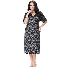 Women's+Lace+Work+Plus+Size+Dress,Print+V+Neck+/+Halter+Midi+½+Length+Sleeve+Black+Spandex+/+Others+Summer+–+USD+$+32.99